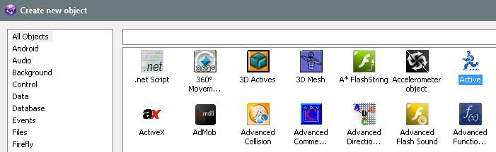 Active object in Clickteam Fusion 2.5
